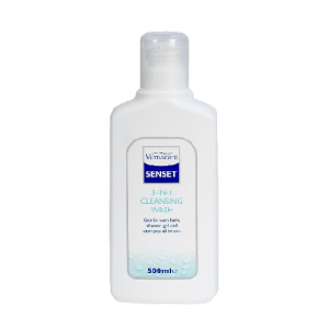A bottle of Senset 3 in 1 Cleansing wash