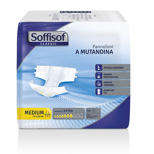 A pack of Soffisof All-in-one Extra Medium incontinence pads