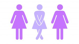 New Mums graphic with incontinence problems, crossing legs